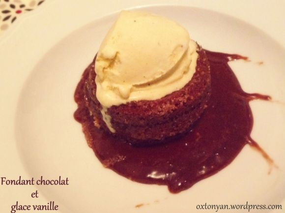 fondant chocolat et glace vanille