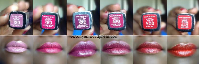 rimmel moisture renew lipstick 180 360 380 470 500 510