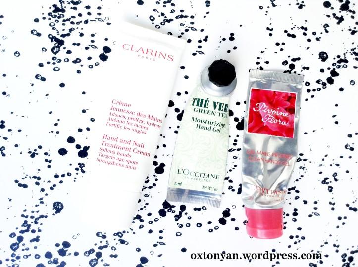 clarins hand cream loccitane green tea hand cream pivoine flora hand gel