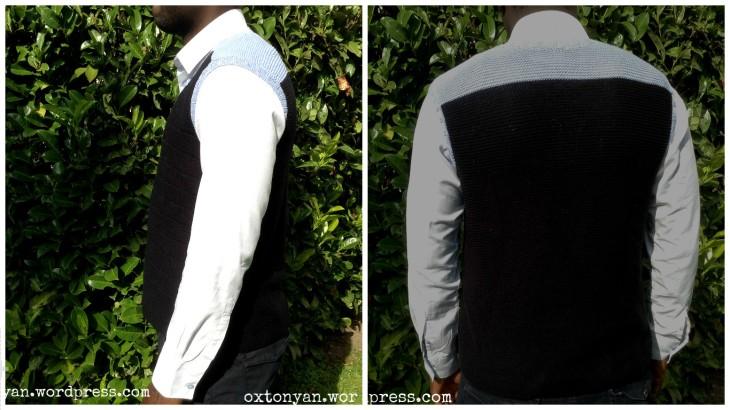 pull homme tricot vue profil et dos